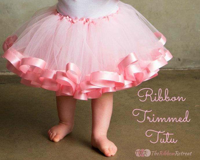 粉红色丝带蓬蓬裙制作过程,儿童纱裙手工布艺