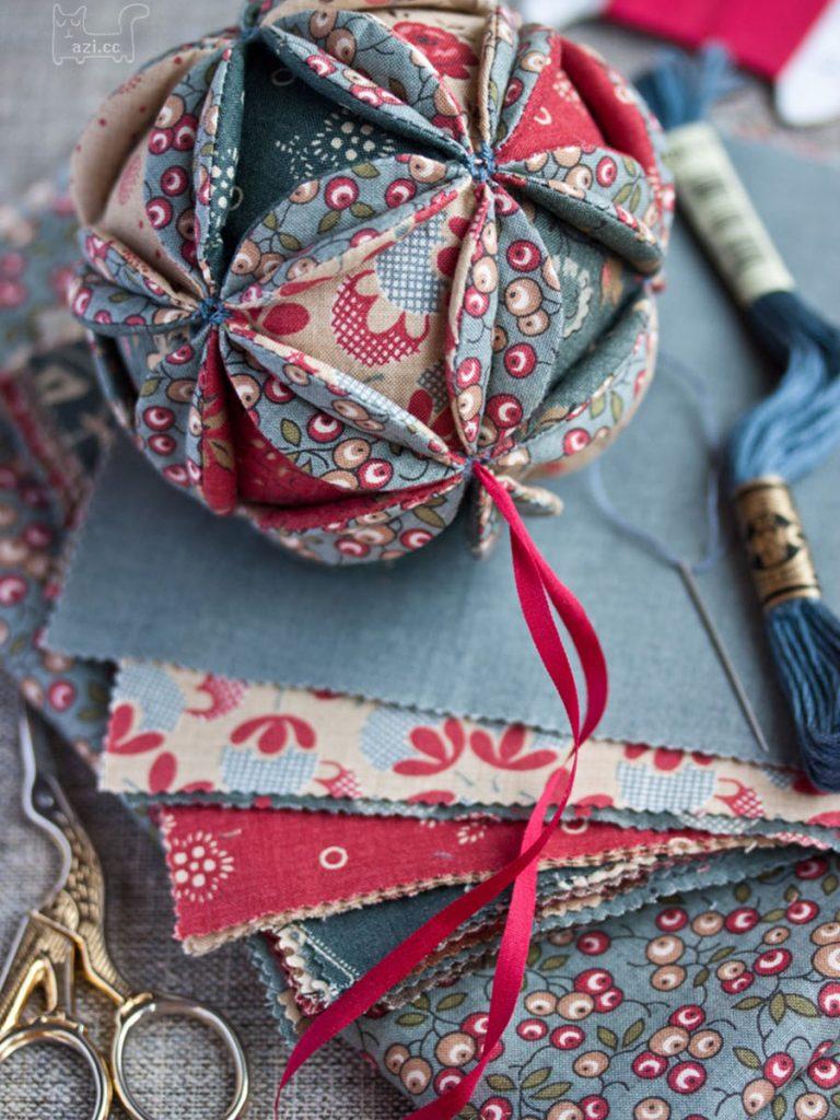 花瓣布艺绣球,圣诞小装饰