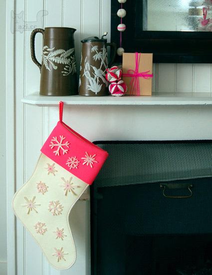手工制作雪花圣诞袜