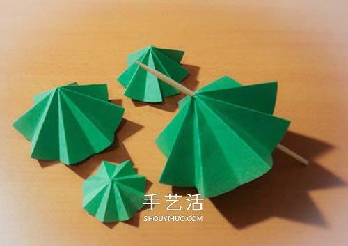 卡纸手工制作立体圣诞树的做法图解 -