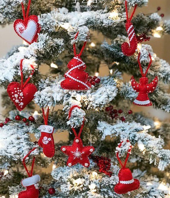 不织布圣诞小挂饰,红色小配饰,超级简单好做